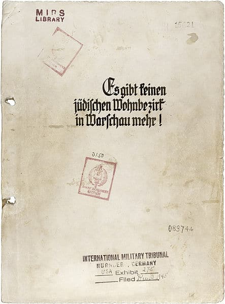 Deckblatt des Stroop-Berichts; Rechte: Gemeinfrei, Quelle: NARA. File Unit : USA Exhibit 275; Record Group 238: National Archives Collection of World War II War Crimes Records, 1933 - 1949.