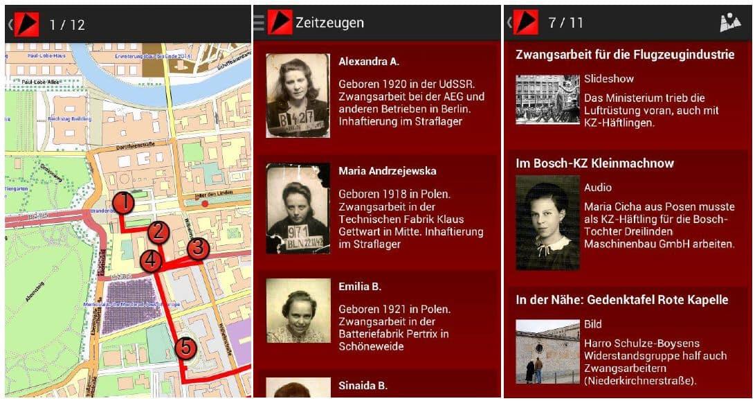 Screenshots der Zeitzeugen-App, mit freundlicher Genehmigung der Berliner Geschichtswerkstatt e.V.